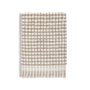 Coin Home 6682140 Towel Puro Weft Checkerboard Thermae, 100% Cotton, White/Grey, 140 x 70 x 0.5 cm