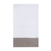 Coin Home 6678397 Towel Frill in Linen, 100% Cotton, White/Brown, 90 x 150 x 0.5 cm