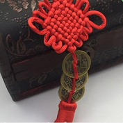 Kingken Chinese Style Red Knot Three Emperor Feng Shui Coins for Hanging Decorations