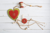 Wooden Red and Green Shabby Chic Hanging Heart Wall Window Door Wedding Party Decoration with Spool and Button by City to Cottage