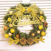 Christmas wreaths golden fruit door ornaments window festive decorations