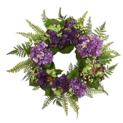"Nearly Natural 24"" Hydrangea Berry Wreath, Purple"