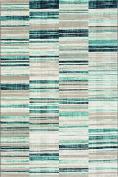 Westco R220852 Stripe Velour Rug, Blue, 115 x 170 cm