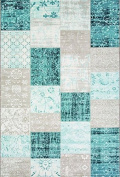 Westco R220858 Velour Rug, Patchwork Green, 115 x 170 cm