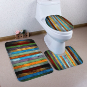 Bathroom Three-piece Colour Wood Home Decoration Water Non-slip Bathroom Mats
