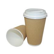 100 x 240ml Kraft Triple Walled Ripple Cups with White Lids - UKB1060 UKB422