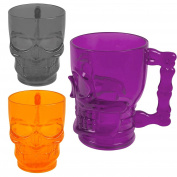 ASAB Halloween Plastic Gothic Skull Face Tankard Drinking Cup Mug Skeleton Head Horror Fancy Dress Party Supplies Props Table Décor