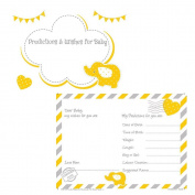 Baby Shower Prediction Cards & Baby Wishes Game Activity Keepsake 16 Cards double side Print Yellow Elephant, Unisex, neutral