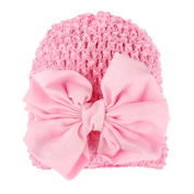Tenchif Newborn Baby Girl Infant Knitted Hollow Out Hat with Bowknot