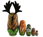 Set of 5 Woodland Forest Animal Stacking Toy Moose Deer Raccoon Porcupine Chipmunk Mixed Nesting Doll Handmade Wooden Toy Pre-Kindergarten Toys for Kids Gift Nursery Decor