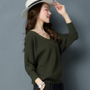 Female Bat Shirt Fashion Hedging Knitted Bottoming Shirt Pure Colour v Neck Sweater , green , XL