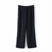 Casual Pants side Buttons Cut Open Striped Jogging Trousers Wide Leg Trousers , Figure , l