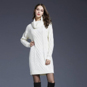 Female Large Size Knitted Dress High Collar long Sweater , white , m