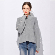 Female Loose Bat Sleeves High Collar Tackle All Match Sweater Sweater , grey , 3XL