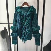 Female Fleece All Match Black Green Cardigan Sweater , green , One Size