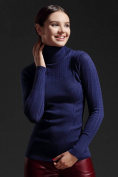 Women's Sweater Slim Was Thin and High-Necked Sweater Hollow Bottomed Shirt Sweater , dark blue , One Size