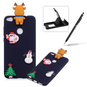 TPU Case for Huawei P8 Lite 2017,Soft Rubber Cover for Huawei P8 Lite 2017,Herzzer Ultra Slim Stylish 3D Christmas Santa Claus Deer Series Design Scratch Resistant Shock Absorbing Flexible Silicone Back Case - Black