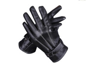 Men's leather gloves to keep warm in winter riding gloves, three bars and plush protective gloves