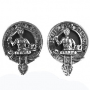 Mens Scottish Made MacFarlane Clan Crested Boxed Silver Cufflinks by Art Pewter