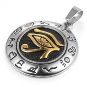 MENDINO Mens Stainless Steel Pendant Egyptian Horus Eye Symbol of Protection Silver Colour Polished With 60cm Link Chain