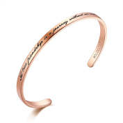 """SOLOCUTE Cuff Bangle Bracelet Engraved """"A true friendship is a journey without an end"""" Inspirational Jewellery, Perfect Gift for Christmas Day, Thanksgiving Day and Birthday"""