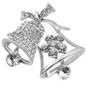 FENGJI Christmas Gift Alloy Rhinestone Jingle Bell Xmas Crystal Brooches Pin
