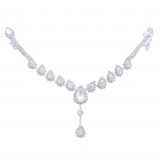 Happy Source Wedding Hair Jewellery Silver-Tone Crystal Water Drop Forehead Chain Tiara Bridal Headpieces