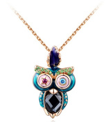 Fashion And Colourful Zircon Rose Gold Owl Pendant Necklace Fashion Necklace For Women For Girl 45cm Chain