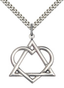Sterling Silver Adoption Heart Pendant with 60cm Stainless Steel Heavy Curb Chain.