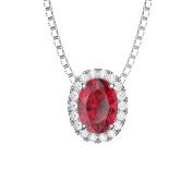 Eternity Ruby and Diamond Silver Pendant