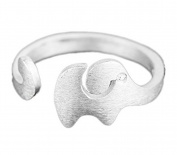 Hosaire Elegant Scrub Elephant Diamond Ring Crystal Open Rings Wedding Jewellery For Women-It Can Be adjustable