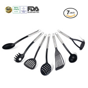 TENTA KITCHEN Stainless Steel & Nylon Kitchen Utensil Set of 7 - High Quality Cooking Tools - Slotted Fish Turner/Potato Masher/Spaghetti Spoon/Soup Ladle/Skimmer