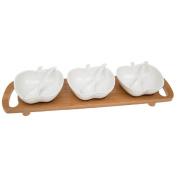 White Bamboo Apple Dip Set