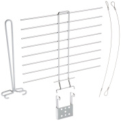 Glass Hanger Trio of Products, Includes The Sliding Drying Rack, Upright Drying Attachment and Vinyl Coated Cables, Silver/White