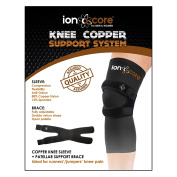 ionocore copper knee support system with knee brace and knee sleeve for joint pain, arthritis, tendonitis, recovery and support. Copper compression knee sleeve and open patella strap neoprene knee brace for running or jumping and faster recovery from p ..