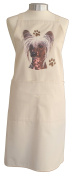 Chinese Crested Breed of Dog Themed Natural Cream Cotton Bib Apron - Baker Cook Gift