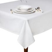 Coin Home 491410 Slub Plain 100% Cotton Tablecloth, White, 220 x 140 x 0.5 cm
