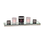 Elegant Diamonte Purple Pink 5 Glass Tealight Candle Holder Tray Luxury Gift