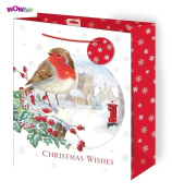 WOW Cute Christmas Glitter Gift Bag with Tag - Traditional Robin Design - Large