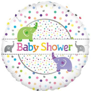 Elephants Baby Shower Holographic Round Foil Balloon 45cm