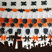 A-SZCXTOP 6PCS Indoor Halloween Decoration Paper Garland Happy Halloween Hanging Prop Scary Atmosphere