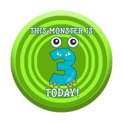 3rd Birthday Badge 3 Today 58mm Pin Button Boys Girls Little Monster