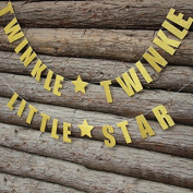 Veewon Twinkle Twinkle Little Star Glittery Gold Banner Hanging Garland for Baby Shower Birthday Party Decoration