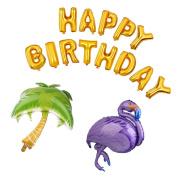 MagiDeal HAPPY BIRTHDAY Palm Tree Flamingo Foil Balloons Hawaiian Luau Party Decor