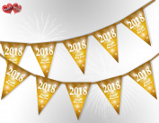 Happy New Year 2018 Fireworks Bright Bunting Banner 15 flags for guaranteed simply stylish party decoration by PARTY DECOR