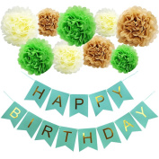 KUNGYO Happy Birthday Bunting Flags Green Banner and Tissue Paper Pom Poms Flowers Garland Birthday Party Decorations