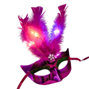 Halloween Mask, Oyedens Womens LED Masquerade Fancy Dress Party Princess Feather Masks