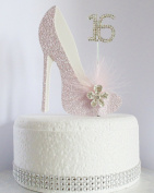 16th Pink and White Birthday Cake Decoration Shoe with Feathers and Crystal Flower Embellishments and Diamante Number Non- Edible
