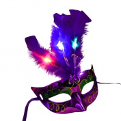 Upxiang Sexy Women Lady Girls Masquerade LED Princess Feather Eye Mask, Halloween Carnival Party Venetian Mardi Gras Party Mask