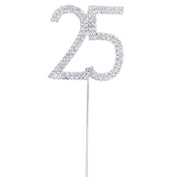 Chytaii Cake Topper for 25th Anniversary Birthday Party Rhinestone Crystal Number